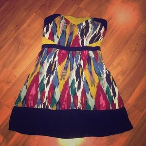 Multi color Strapless dress